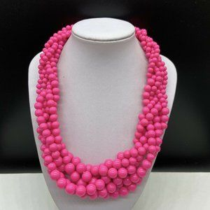 Hot Pink Acrylic Graduated Beaded Necklace